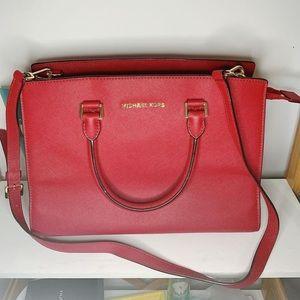 Michael Korrs Selma medium red top-zip satchel bag